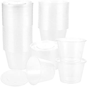 50-Pack Plastic Food Containers with Lids - Round Food Storage Containers, Deli Take Out Restaurant Containers, Microwave, Freezer, Dishwasher Safe, 17 Ounce