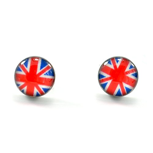 Stainless Steel British Flag Section Button Stud (Vintage Button Earrings)