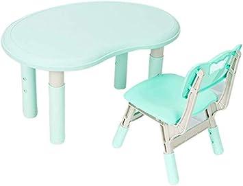 Juego de mesa y silla para niños Sala para niños Sala de juegos Muebles de jardín de infantes Altura ajustable/Green: Amazon.es: Bricolaje y herramientas
