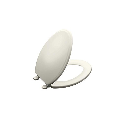 KOHLER K-4694-96 Ridgewood Molded-Wood with Color-Matched Plastic Hinges Elongated Toilet Seat, Biscuit