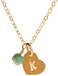 Tiny Personalized Gold Filled Heart Custom Initial Necklace with Choice of Birth Month Charm