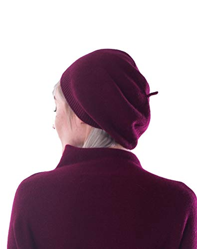 100% Cashmere Beret Hat for Women by cashmere 4 U (Black Cherry)