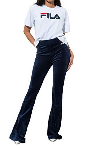 FILA Tonia High Waist Flare Leg Velour Pant-PEACOAT WHITE_M ()