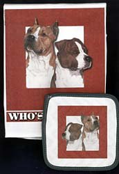 Pipsqueak Productions DP997 Dish Towel and Pot Holder Set - American Staffordshire 1
