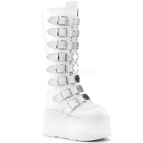 White Knee High Boots Platform (Demonia Women's DAMNED-318 Knee High Boot, White Vegan Leather, 8 M US)