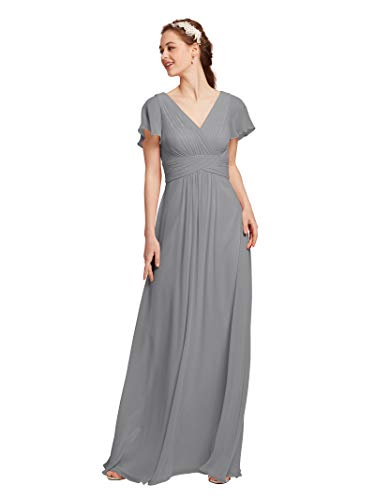 (AW Chiffon Bridesmaid Dress with Sleeves V-Neck Wedding Maxi Evening Party Dress Long Prom Gowns, Dove, US8)