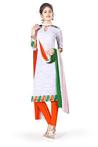 Uniform Sarees Corp Women's Poly Georgette Tiranga Independence Day Salwar Kameez Unstitched Dress Material (Tricolor)