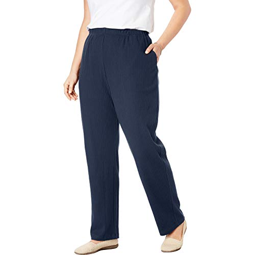 Woman Within Women's Plus Size Tall 7-Day Knit Ribbed Straight Leg Pant - Navy, - Knit Pants Ribbed