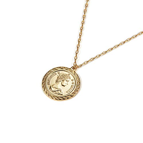 Filled Disc Gold (ACC PLANET Coin Necklace 18K Gold Plated Queen Elizabeth II Vintage Disc Circle Dainty Pendant Necklace for Women (Gold))