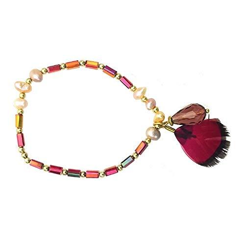 (Pink Pewter Zigi Beaded Elastic Bracelet - Ruby/Red)