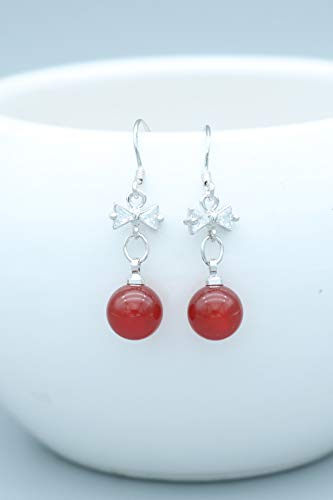 Unique Creative Bow red Agate Bead Earrings earings Dangler Eardrop Women Girls Long red Ear Jewelry Gift Box Holiday Gift Easy Allergies