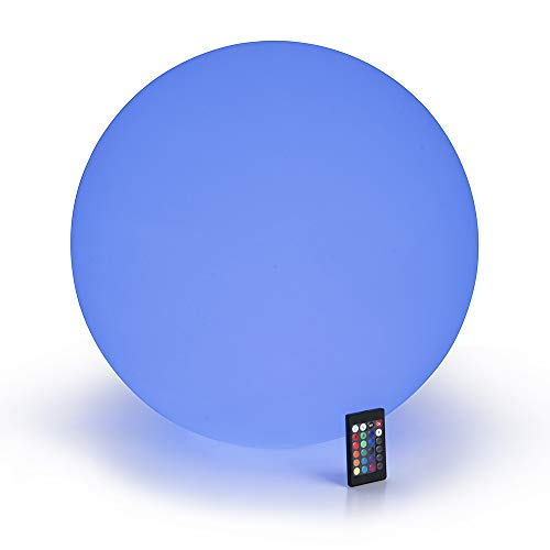 LOFTEK LED Light Up Ball : 20-inch RGB Color Changing Glow Ball with Remote Control, Cordless Floating Decor Orb, UL Listed Adapter, IP65 Protection Grade and Rechargeable Battery