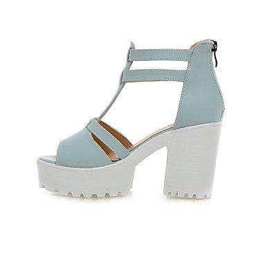 LvYuan Mujer Sandalias Zapatos formales Semicuero Primavera Verano Boda Vestido Fiesta y Noche Zapatos formales Cremallera Tacón RobustoBlanco Blue
