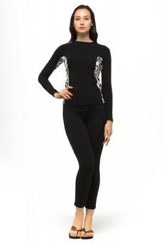 Private Island Hawaii UV Women Wetsuits Long Sleeve Rash Guard Top Black with Pucci XXX-Large ()