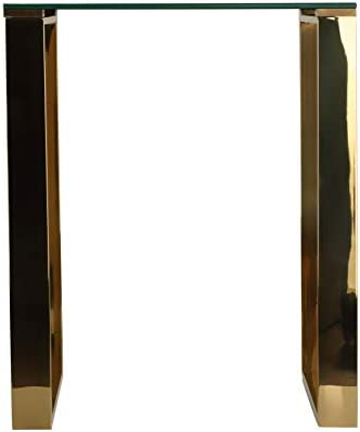 Cortesi Home Remini End Table, Gold Metal and Black Glass