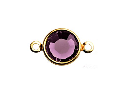 - 10 pc Swarovski Birthstone Channel Links Gold Plated - Choose Your Color 6mm Stone CLK6G-XXXX10 Swarovski birthstones (Amethyst - FEB)