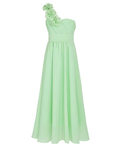 TiaoBug One-Shoulder Chiffon Flower Girl Dress Ruched Pleated High-Waisted Wedding Bridesmaid Prom Evening Event Long Gown Light Green -