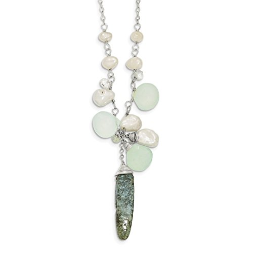 Mother Of Pearl Aqua Pendant (ICE CARATS 925 Sterling Silver Aquamarine/kyanite/white Freshwater Cultured Pearl Chain Necklace Pendant Charm Fine Jewelry Ideal Gifts For Women Gift Set From Heart)