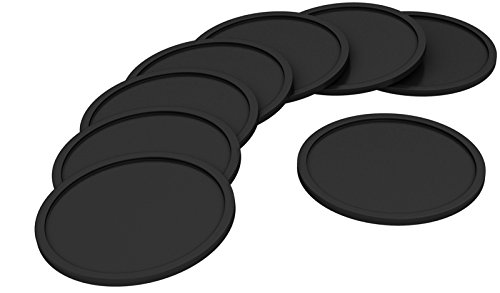 NIZE Silicone Coasters, 8 Easy To Clean Black Drink Coasters, Perfect To Protect Your Furniture, No More Water Rings and Wet Sticky Tables, Non-Slip and Great Grip, Long-Lasting