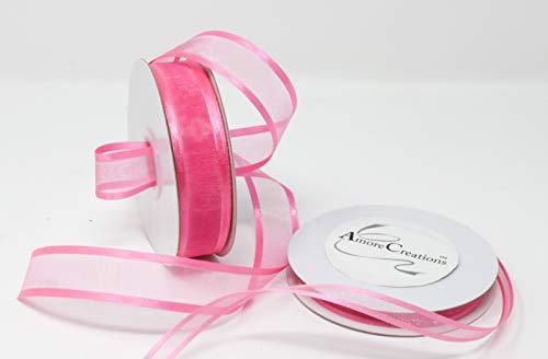 Pink Organza Satin Edge Ribbon - Hot Pink organza Ribbon With Satin Edge-25 Yards X 3/8 Inches