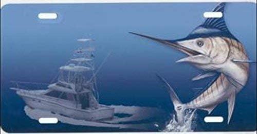 Swordfish W/Boat Blue License Plate Free Personalization On