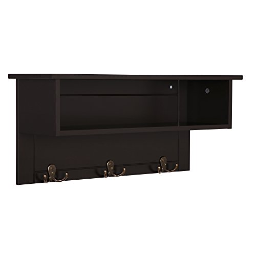 VASAGLE Wooden Entryway Hanging Shelf with 3 Dual Hooks and Storage,23.6