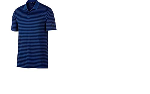 59d69c48 NIKE New DRI FIT Victory Stripe Golf Polo Gym Blue/Obsidian/Black Large