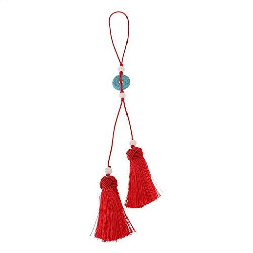(NATFUR Handmade Chinese Knot Tassel DIY Earring Bag Necklace Keychain Tassels Elegant Novelty for Men Holder for Girls Beautiful Fine Beauteous | Color - Red)