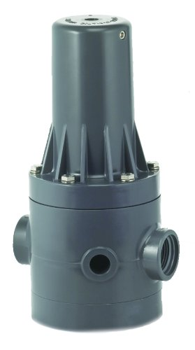 (Plast-O-Matic PRHM Series PVC Pressure Regulator, For Corrosive and Ultra-Pure Liquids, 5 - 125 psi Regulating range, 1/2