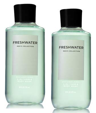 Bath and Body Works Men's Collection Freshwater 2 in 1 Hair and Body Wash 10 Oz. 2 Set.