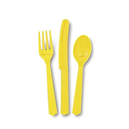 Sunflower Yellow Plastic Cutlery 8spoons, 8forks, 8knives