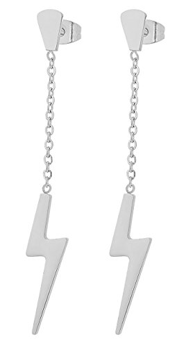 Sterling Silver Lighting Bolt - Edforce Stainless Steel Women's Girls Teens Earrings Lightning Bolt Dangle, 60mm/2.4in (Silver)