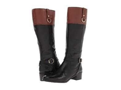 Bandolino Carmine Womens Tall Riding Boots Black/Cognac Leather 10