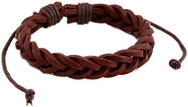Yuelian(TM)レザーブレスレット 三つ編みブレス 腕輪 ラップブレス アクセサリー (2 レッド)