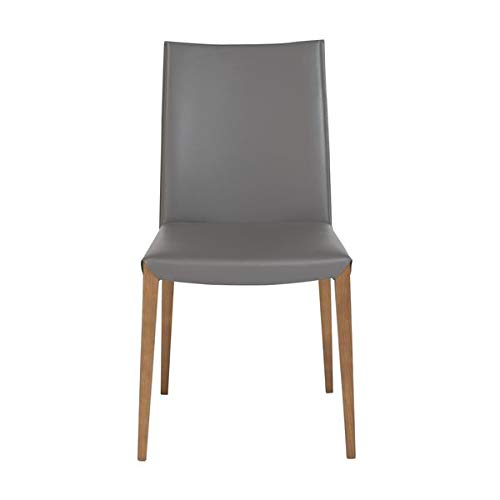 Gray Leatherette Guest or Conference Chair with Ash Wood Legs (Set of 2) ()