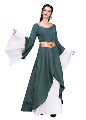 Nuoqi Women's Victorian Deluxe Costumes Gothic Dark Green Renaissance Dress]()