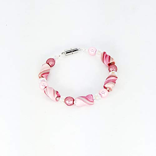 Deep and Soft Pink White Twist Bead Bracelet Handcrafted Polymer Clay Glass Beads Magnetic Clasp Lightweight Just For Your Wrist