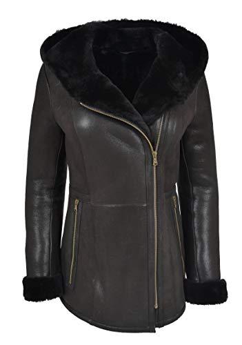 - Womens Genuine Black Sheepskin Coat Hip Length Hooded Merino Shearling Jacket Bella (X-Large)