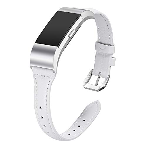 bayite Bands Compatible Fitbit Charge 2, Slim Genuine Leather Band Replacement Accessories Strap Charge2 Women Men, White Small