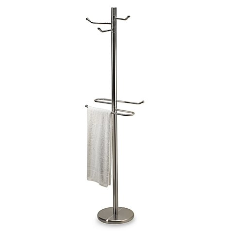 Swiveling Free Standing Towel and Bathrobe Valet in Satin Nickel, 11