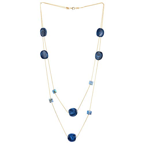 COOLSTEELANDBEYOND Elegant Gold Statement Necklace Two-Strand Long Chain with Blue Cube Crystal Beads and Circle Charms