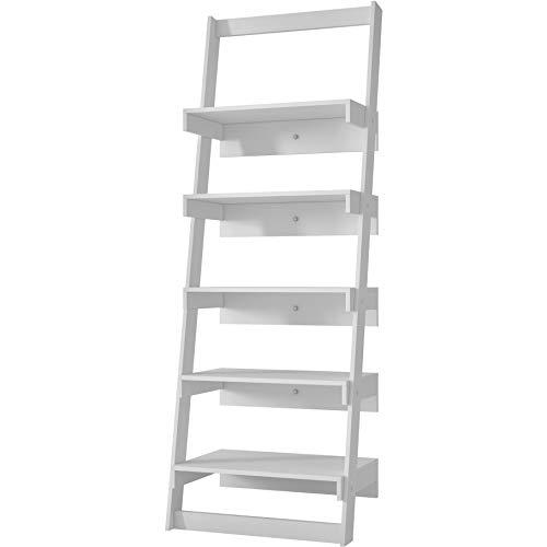 Manhattan Comfort Carpina Collection Modern Decorative 5 Tier Leaning Floating Ladder Shelf Design, White
