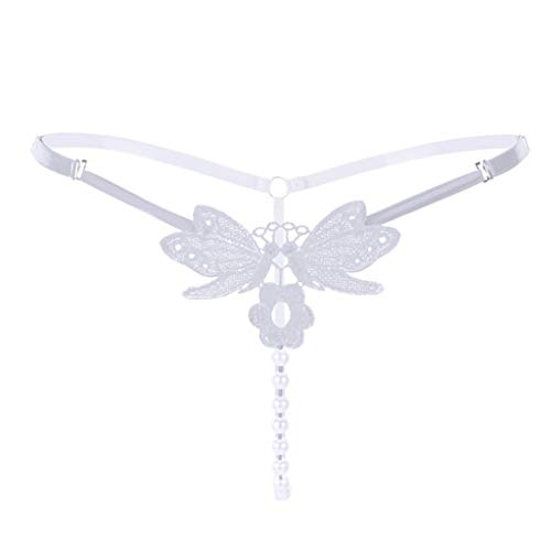 (Lethez Sexy Lingerie Panty Butterfly Embroidery with Pearls G-String Strappy Briefs Thongs Underwear (Free Size, White) )