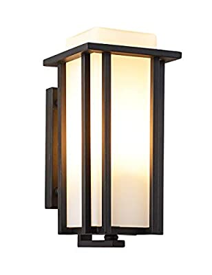Outdoor Exterior Wall Lantern Wall Sconce as Porch Light Fixture,Weather & Rust Resistant,Black Finish with Frosted Glass for Exterior House Deck Patio Porch Lighting