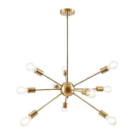 Modern Brass 10 arms Sputnik chandelier Chromed brass Light Fixture Home, Furniture & DIY Light
