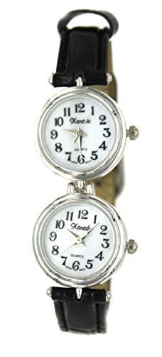 Watch Ladies Time Double - Women's Sophistication Classic Silver-Tone Dual Time Black Leather Watch