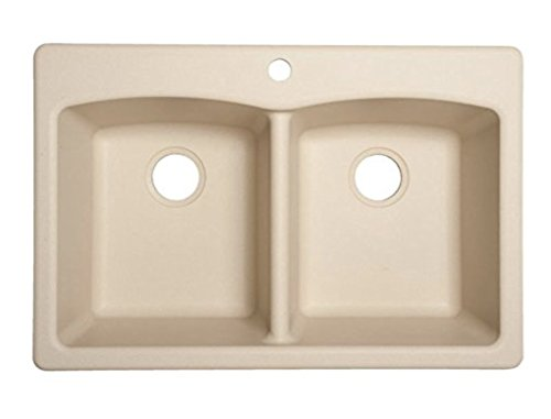 Franke ELG62D91-LIN Ellipse x Double-Basin Composite Drop-in Or Undermount 4-Hole Commercial Kitchen Sink, 33-inch x 22-inch x 9-inch deep, Linen