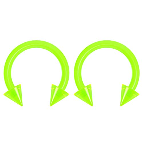 2pc 14g Dental-Grade Clear Acrylic Green Horseshoe Hoop 4mm Spike Circular Barbells Earrings Cartilage Helix Septum Nose Lip Rings - 8mm