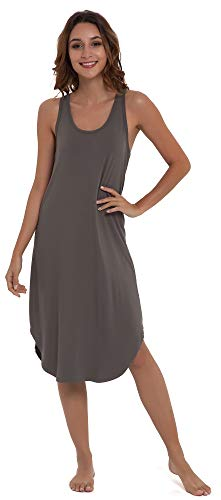 NEIWAI Women's Sleep Dress Long Bamboo Viscose Nightgowns Sleepwear Iron Grey XL