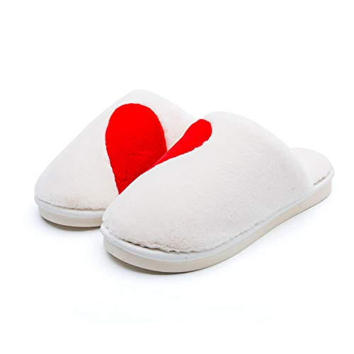 Love Slippers Flock Plush Warm Shoes Indoor Floor Cotton Slippers Home Anti-S Shoes,White,37 - Lea White Adult Shoes